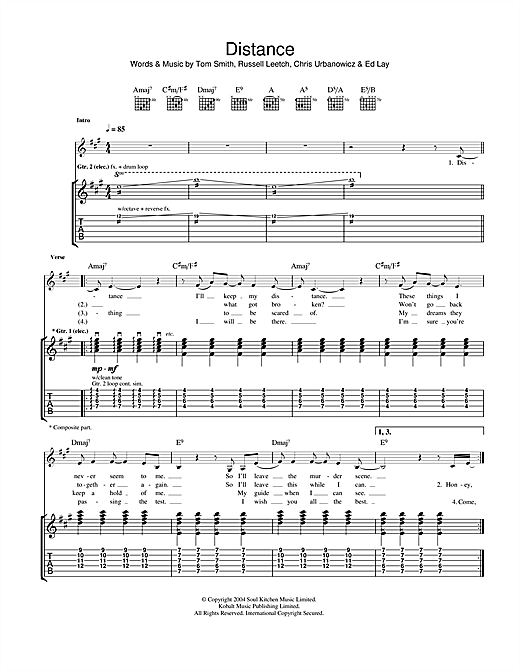 Distance Sheet Music