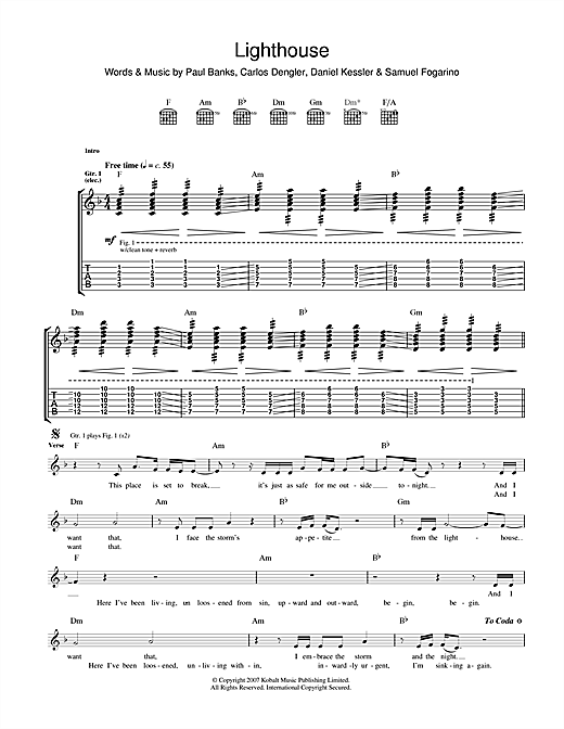 Tablature guitare The Lighthouse de Interpol - Tablature Guitare