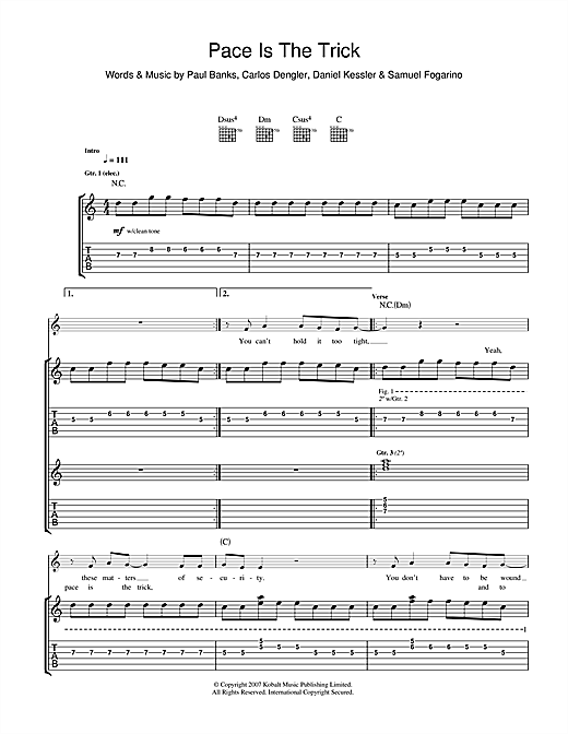 Pace Is The Trick Sheet Music