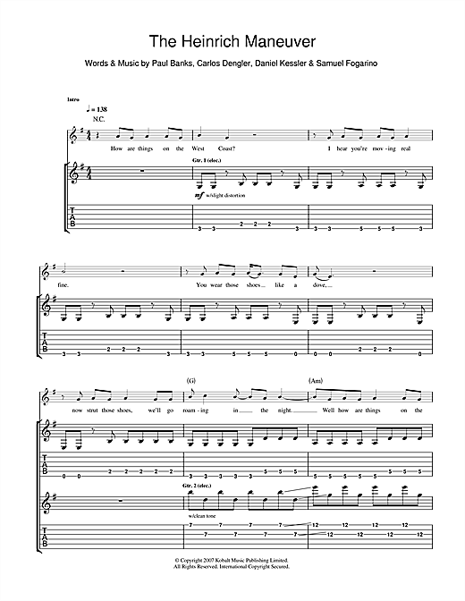 Tablature guitare The Heinrich Maneuver de Interpol - Tablature Guitare