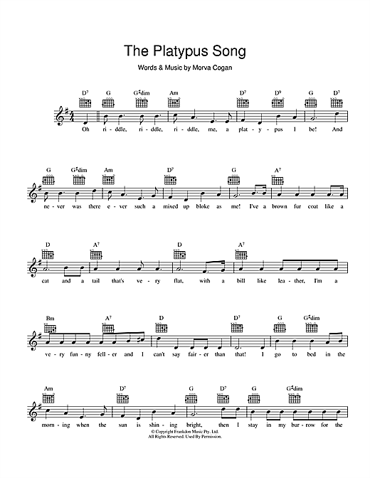 The Platypus Song Sheet Music