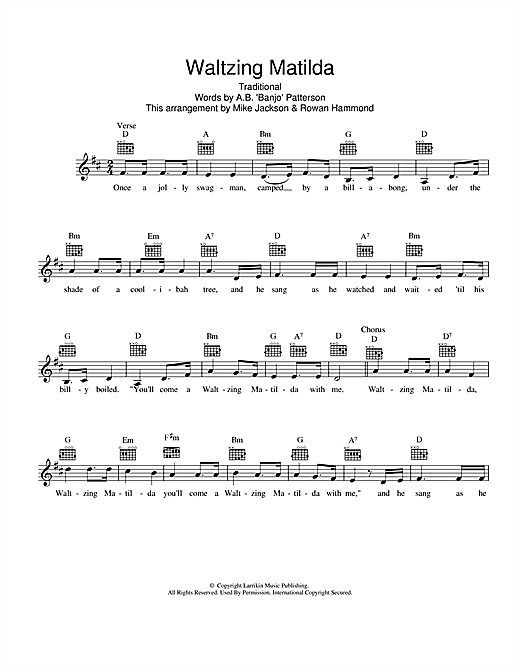 Waltzing Matilda Sheet Music