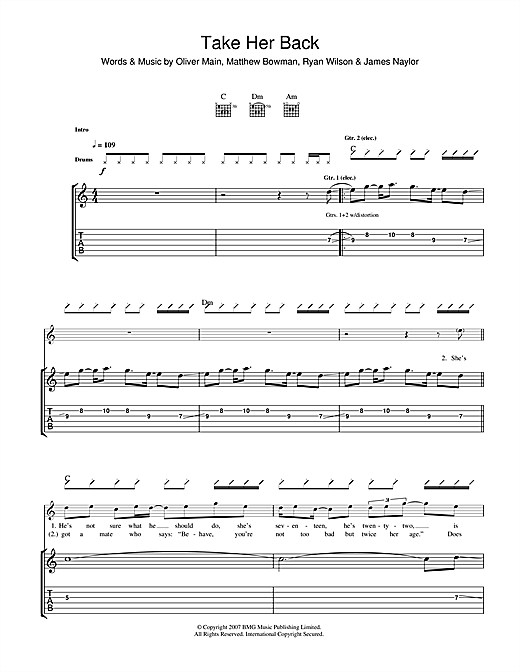 Tablature guitare Take Her Back de The Pigeon Detectives - Tablature Guitare