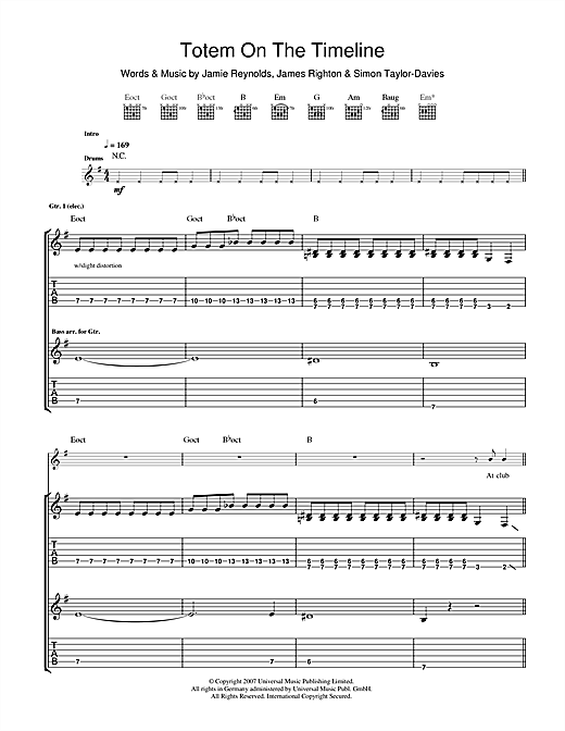 Totem On The Timeline Sheet Music