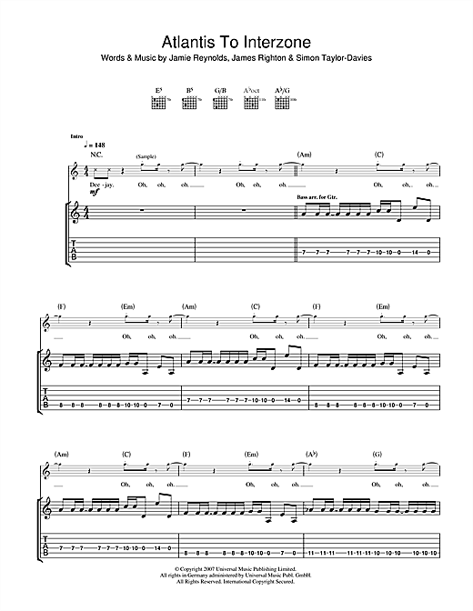 Atlantis To Interzone Sheet Music