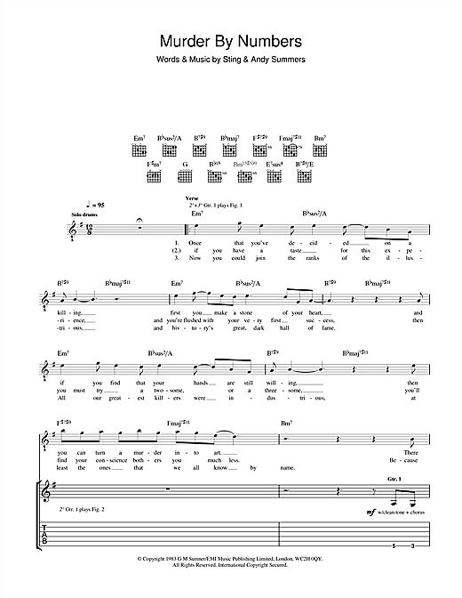 Murder By Numbers Sheet Music