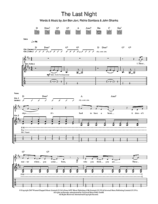 The Last Night Sheet Music