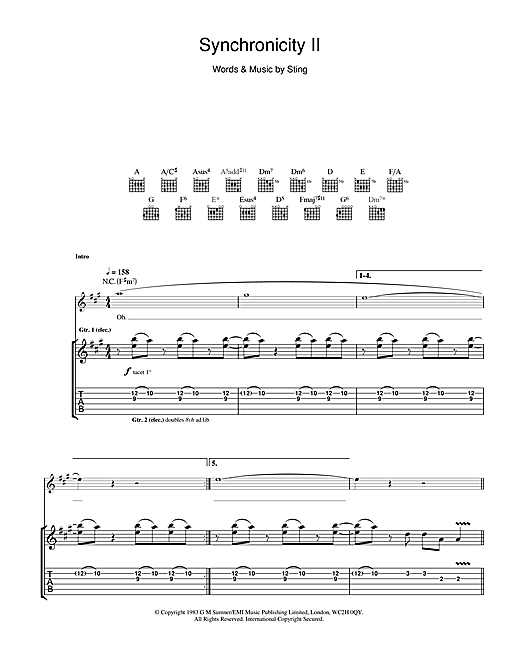 Tablature guitare Synchronicity II de The Police - Tablature Guitare