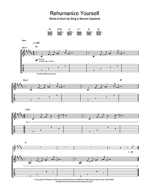 Tablature guitare Rehumanize Yourself de The Police - Tablature Guitare