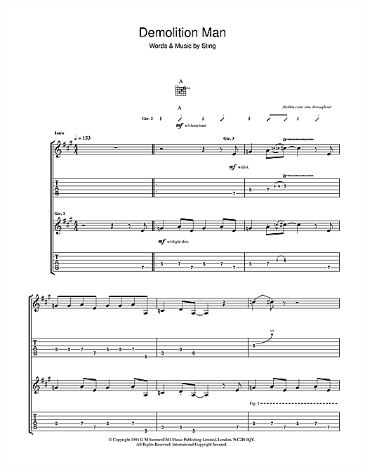 Demolition Man (Guitar Tab)