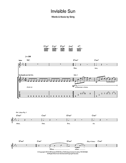 Invisible Sun Sheet Music