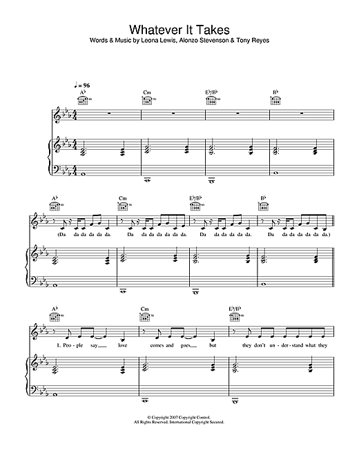 Whatever It Takes Sheet Music