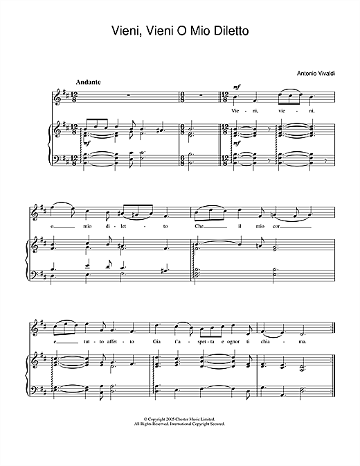 Vieni, Vieni O Mio Diletto Sheet Music