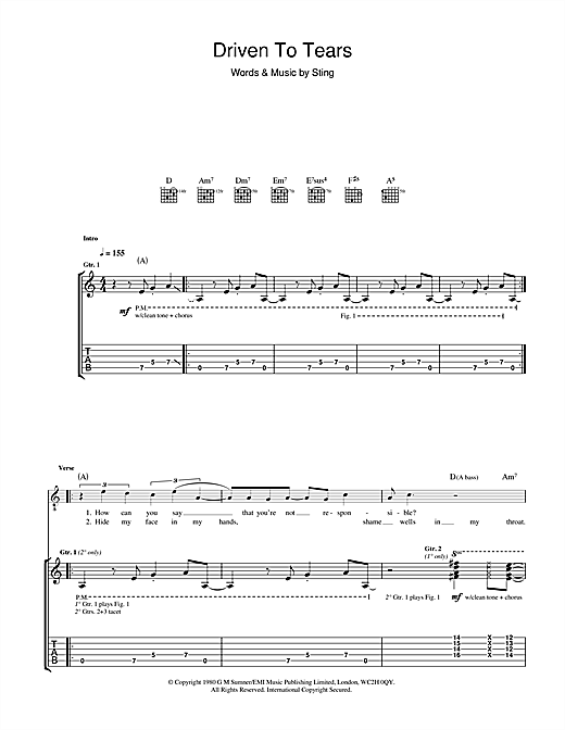 Driven To Tears Sheet Music