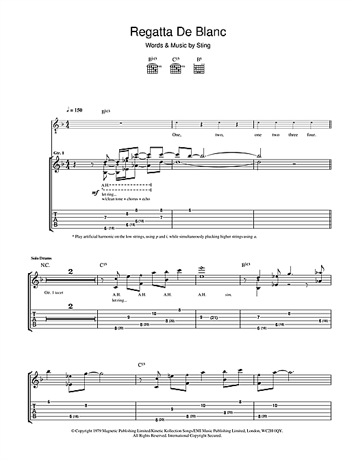 Tablature guitare Regatta De Blanc de The Police - Tablature Guitare