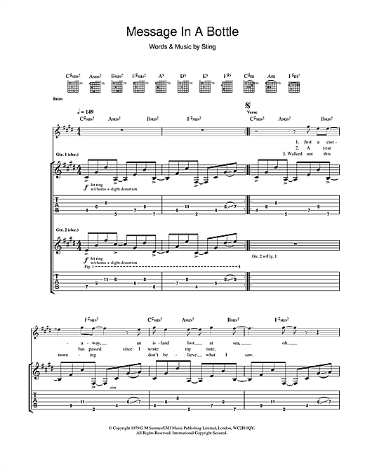 Tablature guitare Message In A Bottle de The Police - Tablature Guitare