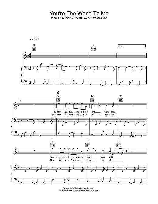 You're The World To Me Sheet Music