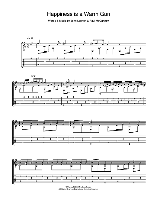 Tablature guitare Happiness Is A Warm Gun de The Beatles - Tablature Guitare