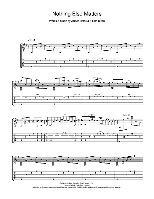 Piano piano tabs nothing else matters : Nothing Else Matters Guitar Tab by Lucie Silvas (Guitar Tab – 39849)
