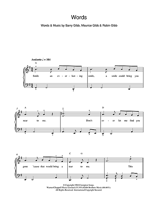 Words Sheet Music