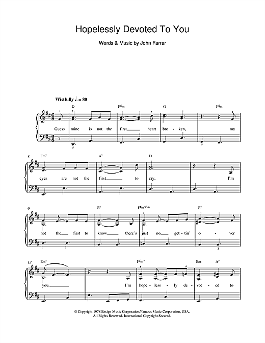 Hopelessly Devoted To You (from Grease) Sheet Music