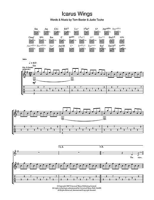 Tablature guitare Icarus Wings de Tom Baxter - Tablature Guitare