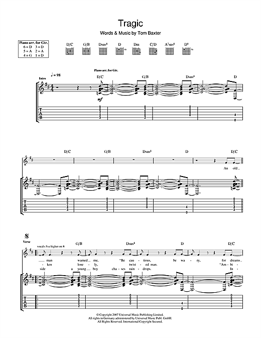 Tablature guitare Tragic de Tom Baxter - Tablature Guitare