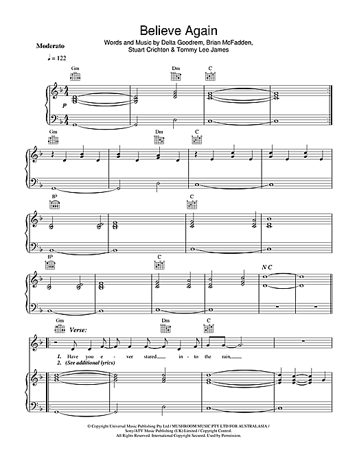 Believe Again Sheet Music