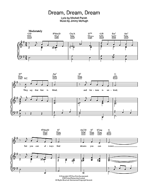 Dream Dream Dream Sheet Music