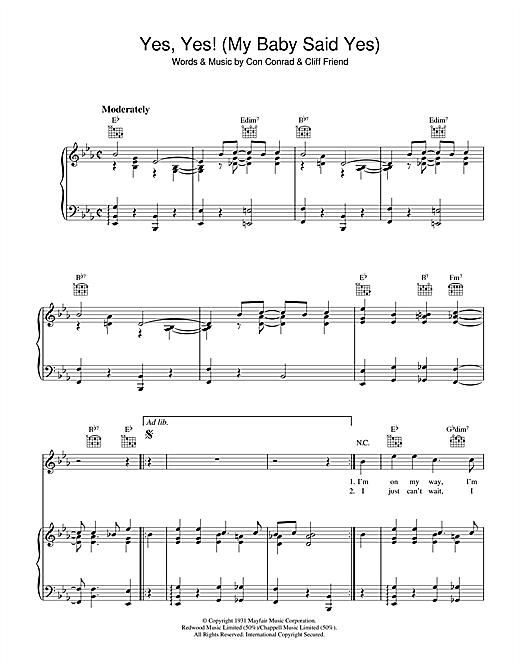 Partition piano Yes Yes (My Baby Said Yes) de Con Conrad - Piano Voix Guitare (Mélodie Main Droite)