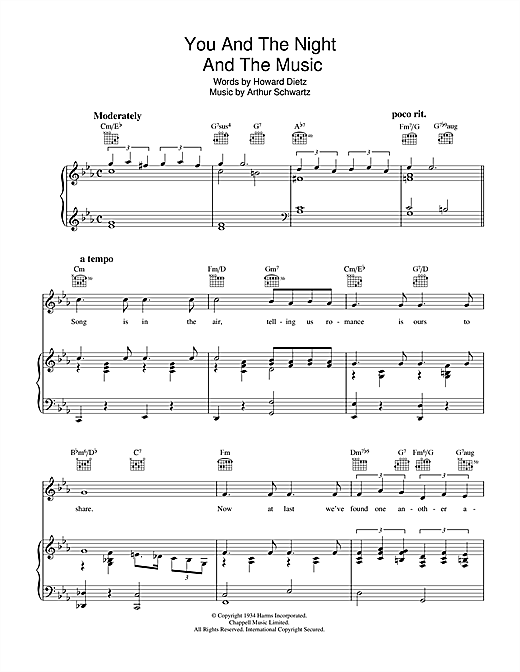 You And The Night And The Music Sheet Music