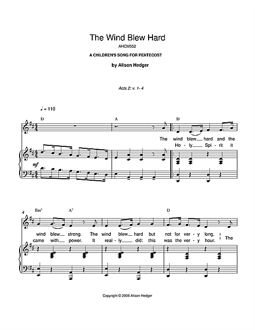The Wind Blew Hard Sheet Music