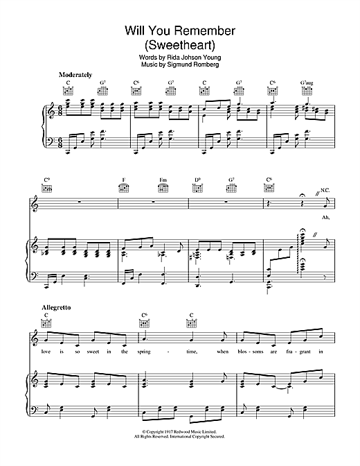 Will You Remember Sheet Music