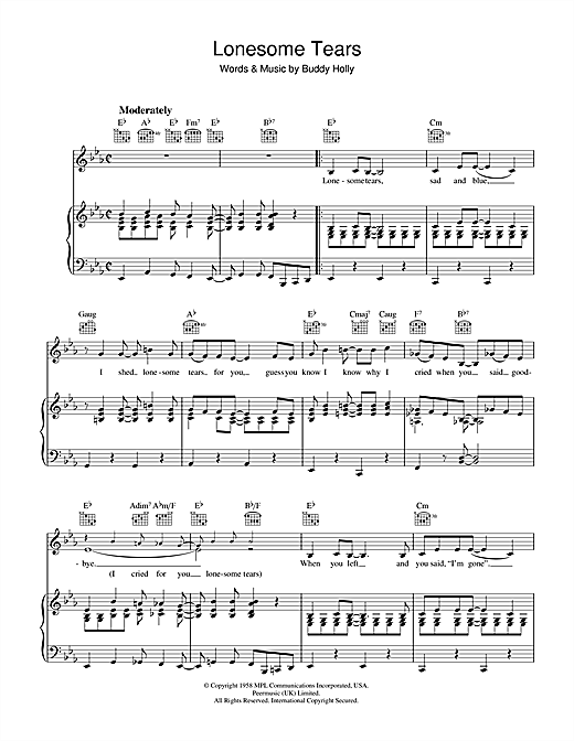 Lonesome Tears Sheet Music
