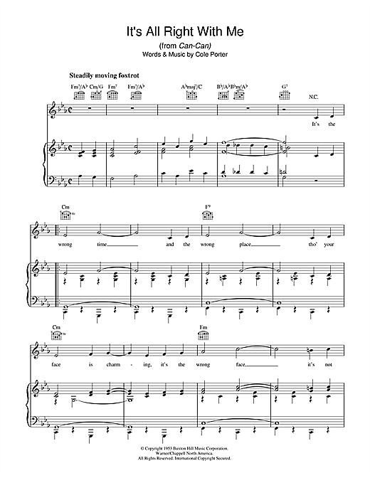 It's All Right With Me Sheet Music