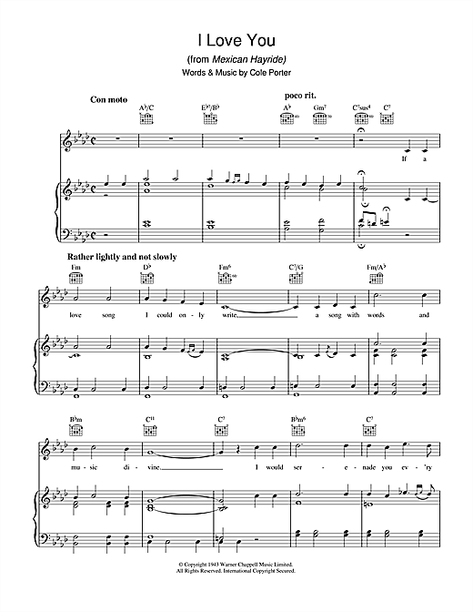 I Love You (from Mexican Hayride) Sheet Music