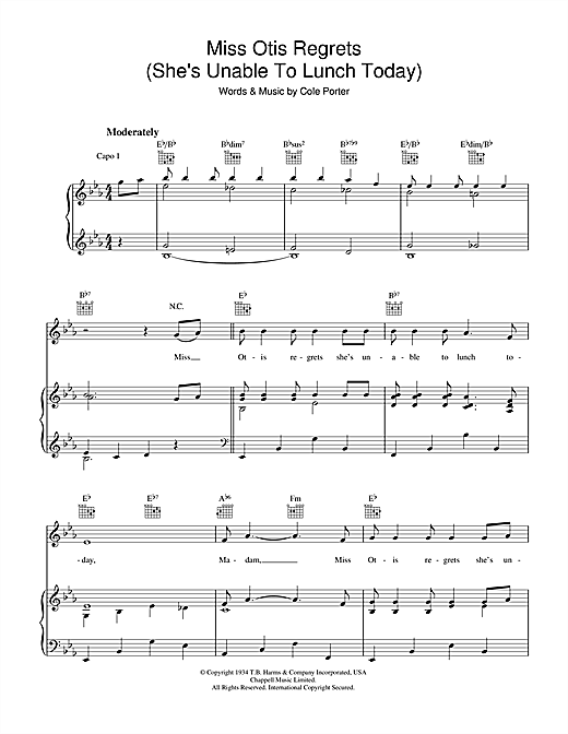 Miss Otis Regrets Sheet Music