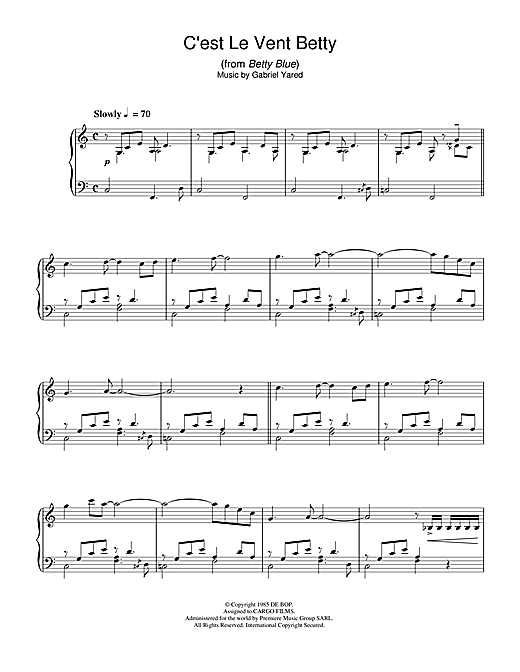C'est Le Vent Betty (from Betty Blue) Sheet Music