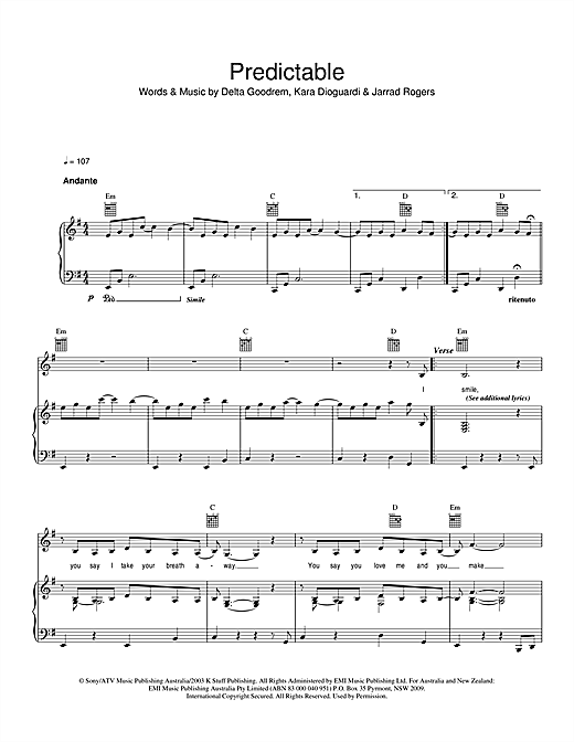Predictable Sheet Music