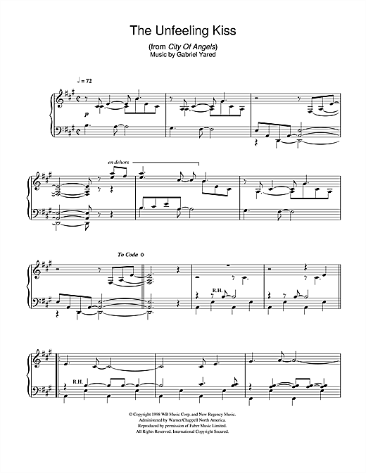 The Unfeeling Kiss (from City of Angels) Sheet Music