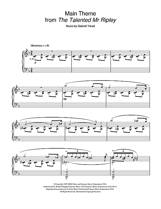 Main Theme (from The Talented Mr Ripley) Sheet Music