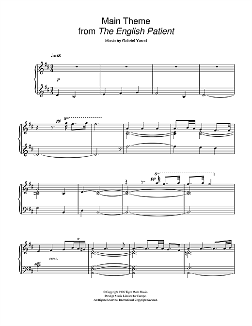 Main Theme (from The English Patient) Sheet Music