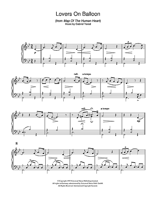 Partition piano Lovers On Balloon (from Map Of The Human Heart) de Gabriel Yared - Piano Solo