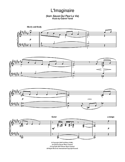 L'Imaginaire (from Sauve Qui Peut La Vie) Sheet Music