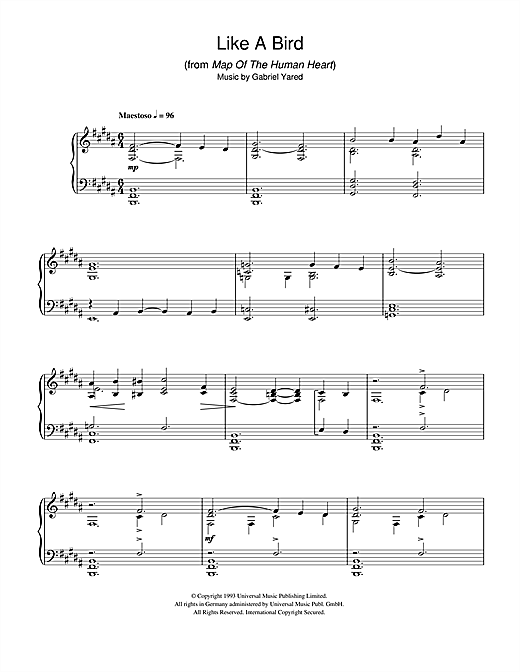 Partition piano Like A Bird (from Map Of The Human Heart) de Gabriel Yared - Piano Solo