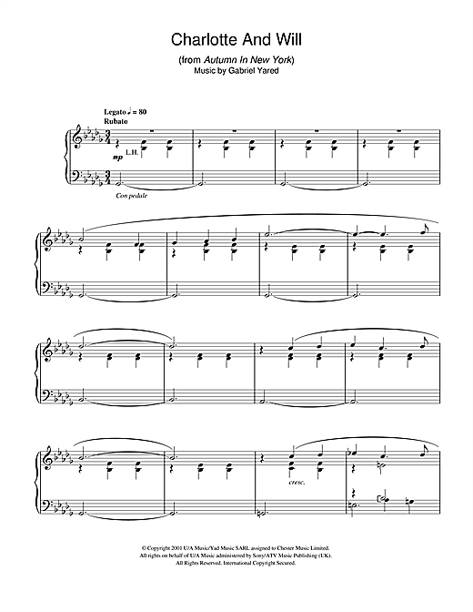 Partition piano Charlotte And Will (from Autumn In New York) de Gabriel Yared - Piano Solo