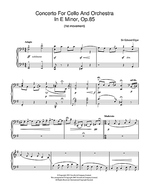 Concerto For Cello And Orchestra In E Minor, Op.85 Sheet Music