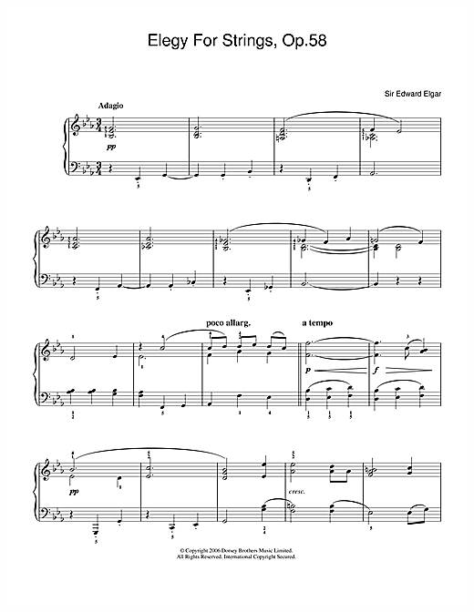 Partition piano Elegy For Strings, Op.58 de Edward Elgar - Piano Facile