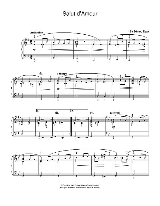 Partition piano Salut D'Amour de Edward Elgar - Piano Facile