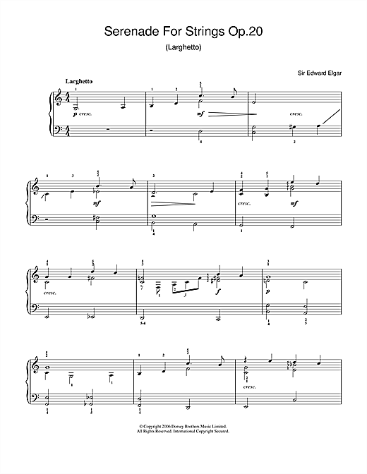 Serenade For Strings Op.20 (Larghetto) Sheet Music
